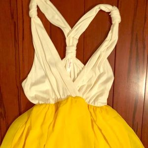 Beautiful yellow and white maxi maternity dress